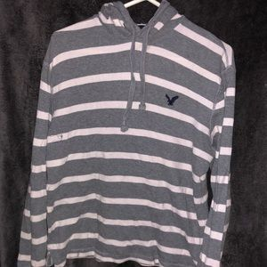 American Eagle Striped Pull-Over Hoodie